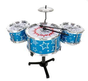 Kinderschlagzeug Spielzeug-Drum-Set für Kinder, 7 Teile, Jazz-Drums mit 2 Sticks, 2 kleinere und 1 größere Trommel, Trommelständer und Becken, Schlaginstrument zum Einstieg in die Musik