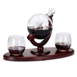 850ml Glas Dekanter Globus Whiskey Dekanter Wein Liquor Glasware + 2 Tassen