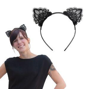 Oblique Unique Haarreif Haarreifen Katzenohren mit Spitze Kostüm Fasching Karneval