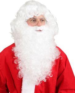 lange Perücke zum Kostüm Nikolaus Weihnachtsmann weiß