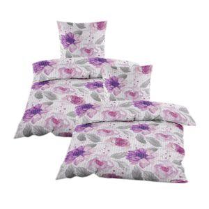 Seersucker Bettwäsche 4 tlg. 135x200 cm in Violett mit Blumenmuster