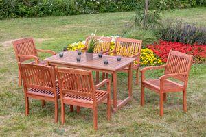 Merxx 7tlg. Maracaibo Gartenmöbelset - 6 Sessel, 1 Tisch - Farbe: braun - Maße: Sessel: 63,5x107x91 Tisch: 140x80x74; 6x 25210-011   1x 25212-011