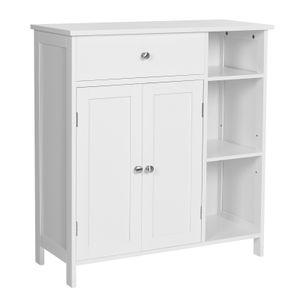 VASAGLE Badezimmerschrank mit 2 Türen | Badschrank mit Schublade 75 x 30 x 80 cm verstellbare Regalebene mattweiß BBC142W01