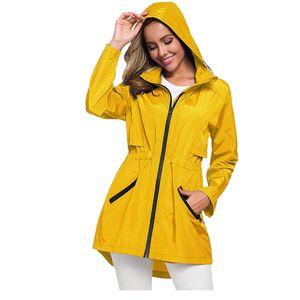 Frauen Solid Rain Jacke Outdoor Plus Size Wasserdichte Kapuze Winddichter lockerer Mantel Größe:XXL,Farbe:Gelb
