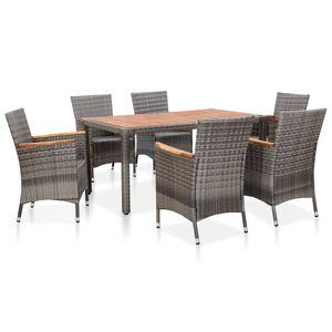 7-teiliges Outdoor-Essgarnitur Garten-Essgruppe Sitzgruppe Tisch + stuhl mit Auflagen Poly Rattan Grey