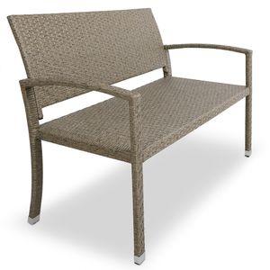 Deuba Gartenbank 2-Sitzer B 122 x H 87 x T 60 cm, Polyrattan, UV-lichtbeständig, Sitzkomfort Parkbank Balkon Garten Möbel Sitzbank, Farbe:creme