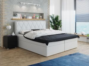 Mirjan24 Boxspringbett Stefa, Stilvoll Doppelbett mit zwei Bettkästen und Topper, Polsterbett (Farbe: Soft 017, Größe: 180x200 cm)