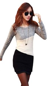 Isol Mississhop Damen Mini Kleid kurze Tunika Langarm Shirt Bluse Longshirt mehrfarbig Grau Beige Schwarz XL