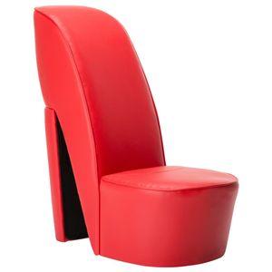 vidaXL Stuhl in Stöckelschuh-Form Rot Kunstleder