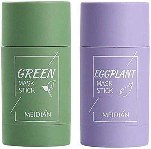 2 Stück Grüner Tee Purifying Clay Stick Mask Ölkontrolle Gesichtsmaske, Stick Deep Cleansing Anti-Akne-Maske Fine Solid Mask Green Tea, Auberginen Akne Cleansing Solid Mask