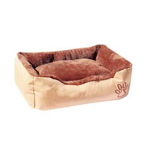 WELLGRO Hundebett - Hundesofa - Hundekissen - waschbar - beige/braun - Größe M bis XXL wählbar, Größen:M (60 x 48 cm)