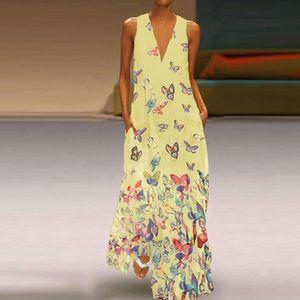 Plus Size Damen Bohemian Dress Sleeveless Printed Maxi Dress,Farbe: Gelb,Größe:5XL