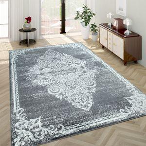 Wohnzimmer-Teppich, Kurzflor-Teppich Mit Used-Optik Barock-Stil, In Grau, Grösse:120x170 cm