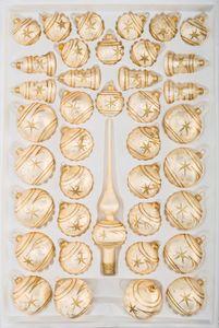 39 tlg. Glas-Weihnachtskugeln Set in Ice Champagner Gold Komet