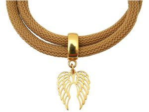 Damen Armband Wickelarmband 925 Silber Vergoldet Flügel Braun