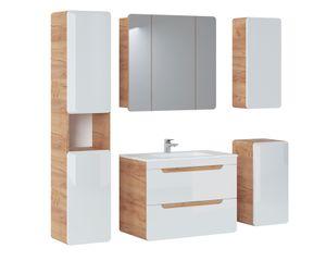 Badmöbel Set 5-tlg Badezimmerset FERMO Weiss HGL inkl.Waschtisch 80cm