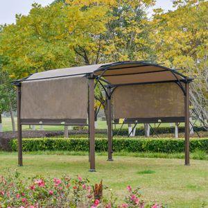 Outsunny Pavillon Pergola mit einstellbarem Stoffdach UV+50 Überdachung Wasserfest Sonnenschutz Texteline Stahl Kaffee-Braun 3,45 x 3,45 x 2,5m
