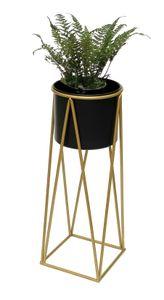 DanDiBo Blumenhocker mit Topf Metall Gold Schwarz L 70 cm Blumenständer 96046 Blumensäule Modern Pflanzenständer Pflanzenhocker