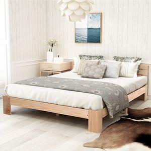 Merax Doppelbett Bettgestell 140x200 Massivholzbett Bettgestell mit Kopfteil und Lattenrost,140 x 200 cm Holzbett (Natur)