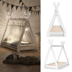 VITALISPA Kinderbett TIPI Indianer Bett Kinderhaus Holz Hausbett 70x140cm Weiß