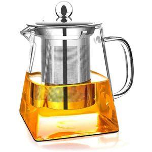 Teekanne Glas 0.35 L mit Siebeinsatz Edelstahl Teebereiter Glaskanne