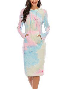 Damen bedrucktes Kapuzen-Langarm-Sweatshirt Tie-Dye-Kleid,Farbe: Weiß,Größe:L