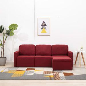 Modulares 3-Sitzer-Schlafsofa Weinrot Stoff Wohnlandschaft-Sofa Relaxsofa für Wohnzimmer Schlafzimmer Esszimmer