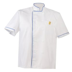 Damen Herren Kochjacke Kurzarm Bäckerjacke Einreiher Kochbekleidung Kochhemd Gastronomie Top Jacke Sommer Größe XL Farbe Blau