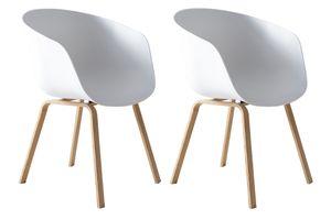 SalesFever Schalenstuhl 2er-Set | Kunststoff Schalensitz | Gestell Metall Holz-Optik | B 54,5 x T 54 x H 77,5 cm | weiß