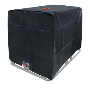 ECD Germany Abdeckplane für Wassertank 1000 L 120 x 100 x 116 cm mit Lochausschnitt in Schwarz - Schutzhülle Schutzhaube Schutzplane UV-Folie Cover für IBC-Tank Regenwassertank Container Behälter