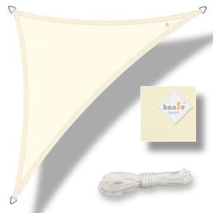 hanSe® Sonnensegel 100% Polyester PES Dreieck 5x5x5m Creme Sonnenschutz Marken-Sonnensegel wasserabweisend wetterbeständig
