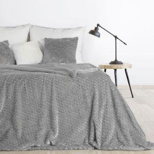 Flauschige Tagesdecke grau 170x210 cm