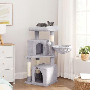 FEANDREA Kratzbaum, für 3-4 Katzen, weicher Katzenbaum, 2 komfortable Kuschelhöhlen, hellgrau PCT940W01