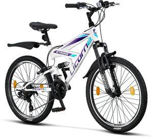 Licorne Bike Strong V Premium Mountainbike in 24 und 26 Zoll - Fahrrad für Jungen, Mädchen, Damen und Herren - Shimano 21 Gang-Schaltung - Vollfederung, Farbe:Weiß/Lila, Zoll:24