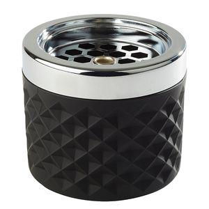APS Windaschenbecher  /// Ø 9,5 cm, H: 8 cm  /// Glas, matt-schwarz, gefrosted  /// Metall verchromt /// 582