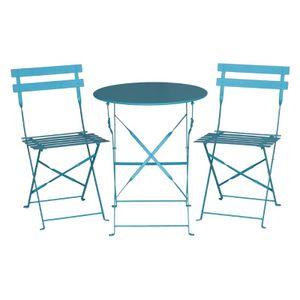 Bolero runder klappbarer Terrassentisch Stahl azurblau 60cm