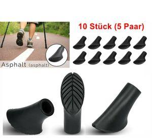 Zodight 10 Stück (5 Paar) Walking Asphaltpads Gummipuffer Ersatzfüße für Trekking Stöcke Grip Pads Nordic Walking