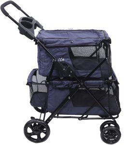 Hundewagen Ultraleichter Hundebuggy 2 Schicht Pet Stroller mit Vier Rädern Faltbarer Haustierbuggy bis 15 kg, Blau