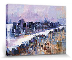 New York Poster Leinwandbild Auf Keilrahmen - New York & Manhattan-Insel (60 x 80 cm)
