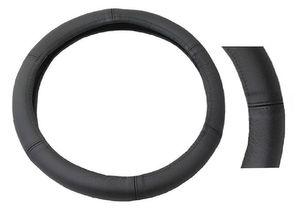 Lenkradbezug schwarz Leder Bezug Lenkrad Lenkradschoner Echtleder 37cm - 39cm