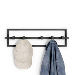Umbra Garderobenhaken Cubiko 5, Wandgarderobe, Garderobenleiste, 5 bewegliche Haken, Stahl, Schwarz, 1016881-040