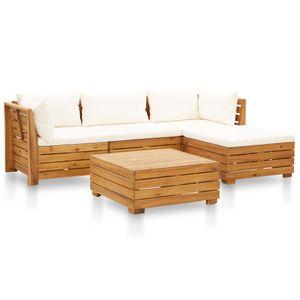 vidaXL 5-tlg. Garten-Sofagarnitur mit Auflagen Akazienholz Cremeweiß