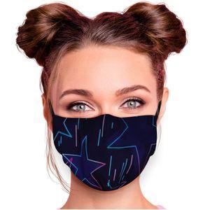 Mundschutz Maske in verschiedenen Farben Stoffmaske mit Motiv  Mund- Nasenschutz mit wechselbarem Filter einstellbare Ohrbügel, Modell wählen:Sterne