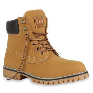 Mytrendshoe Herren Worker Boots Outdoor Schuhe Profil Sohle Gefüttert 812656, Farbe: Hellbraun, Größe: 42
