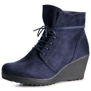 topschuhe24 1025 Damen Stiefeletten Keilabsatz Booties, Farbe:Blau, Größe:40 EU