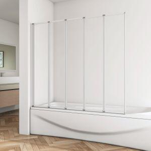 120x140cm Badewannenaufsatz Faltwand Duschwand Duschabtrennung 5-teilig Trennwand