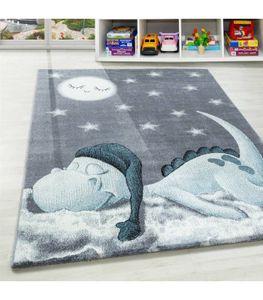 Kinderteppich Dino Wolke Kurzflor Kinderzimmer Babyzimmer Teppich Soft Grau Blau, Grösse:80x150 cm