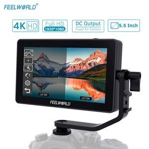 FEELWORLD F6 Plus 5,5-Zoll-Kamera-Feldmonitor-Kit 3D-LUT-Video-Assistent mit Sonnenschutz-Kipparm-Unterstš¹tzung 4K HD-Eingabe- und -Ausgabe 1920 * 1080 Pixel HD-IPS-Touchscreen fš¹r Canon Nikon DSLR-Kamera-Camcorder fš¹r DJI Zhiyun Feiyu Gimbal Stabilizer