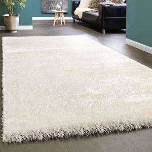 Edler Teppich Shaggy Hochflor Einfarbig Flauschig Glänzend In Weiß, Grösse:80x150 cm