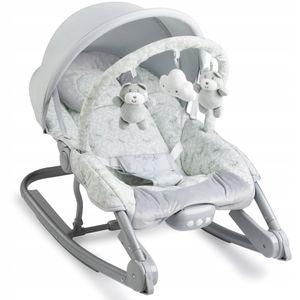 MOMI EBES Babywippe für Babys, weiche Polsterung, Metallrahmen, Antirutsch-Füßchen, Haltegurt   Gewicht 3,84 kg, Abmessungen 80 x 54 x 40 cm   Sensorisches Modul für kreative Kinderförderung   Leaves